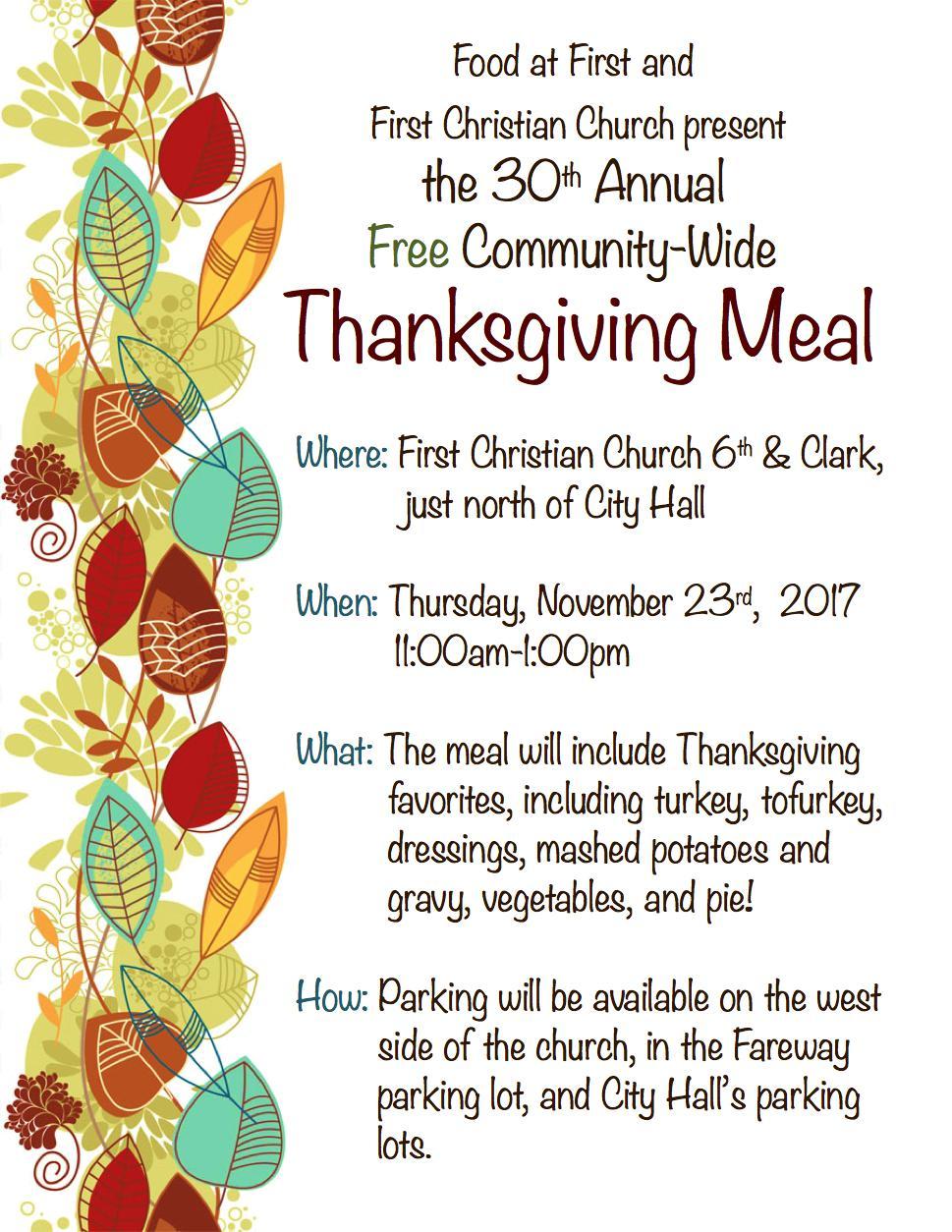 FAF Thanksgiving 2017 flyer
