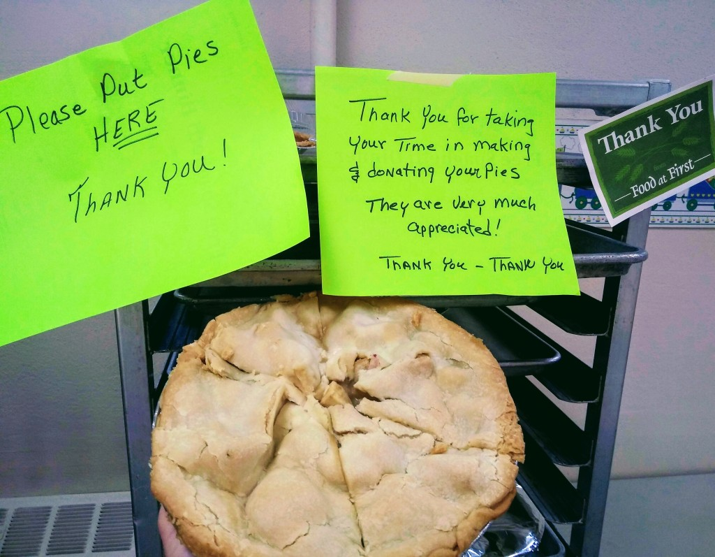 Food at First says THANK YOU for taking the time to make and donate your PIES !!
