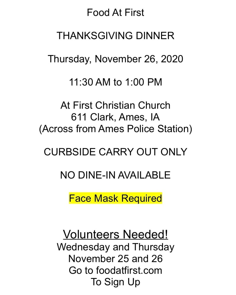 Thanksgiving Thursday Nov 26, 2020 volunteers needed